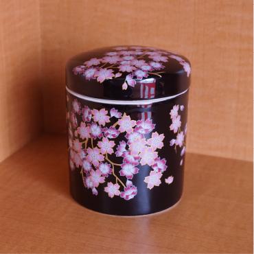 小型骨壺 みやび桜 黒色